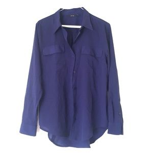 Navy Blue Apt 9 Button Up Blouse